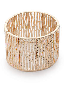 Gold-Tone Wide Stretch Bracelet