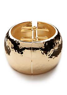 Gold-Tone Hammered Hinge Cuff Bracelet