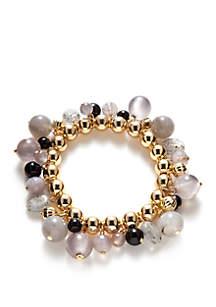 Gold-Tone Beaded Stretch Bracelet
