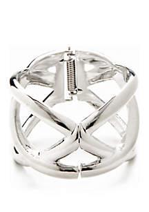Silver-Tone Hinge Bracelet
