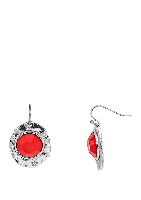Ruby Rd Silver Tone Cabochon Single Drop Earrings