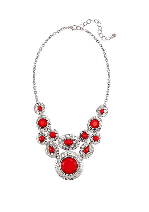 Silver Tone Cabochon Statement Necklace