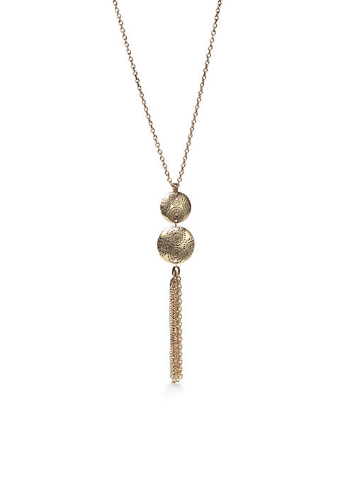 Metal Discs Long Tassel Pendant Necklace