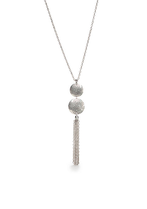 Ruby Rd Metal Discs Long Tassel Pendant Necklace