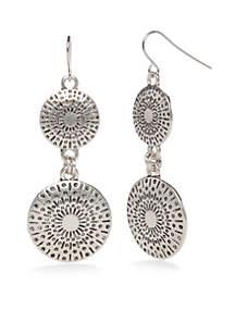 Silver-Tone Metal Discs Double Drop Earrings