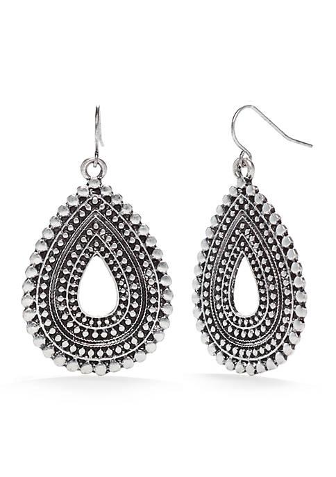 Silver-Tone Metal Works Textured Teardrop Earrings