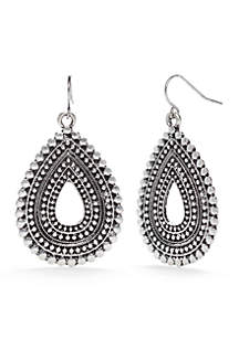 Silver-Tone Metal Works Textured Teardrop Earrings
