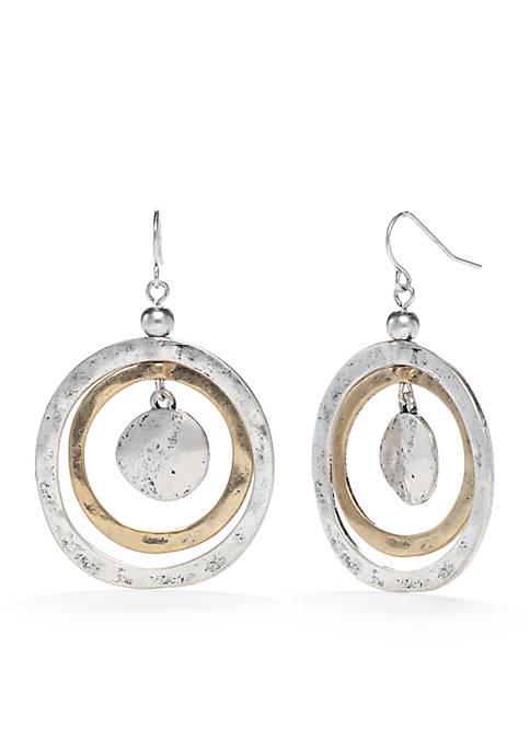 2 Tone Metal Works Orbital Hoop Earrings