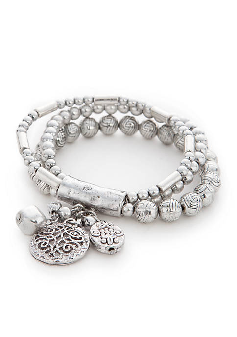 Ruby Rd Silver-Tone Dream Weaver Bracelet Set