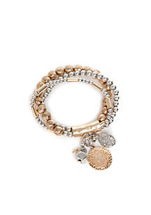 Two-Tone Metal Bracelets With Charms
