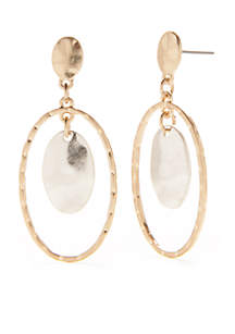 Earring Boost Gold and Silver-Toned Post Top Oval Drop Earrings