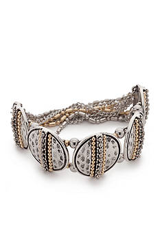 Ruby Rd Two-Tone Chain Reactive Disc Stretch Bracelet