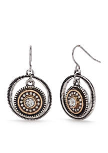 Two-Tone Chain Reactive Ring Drop Earrings