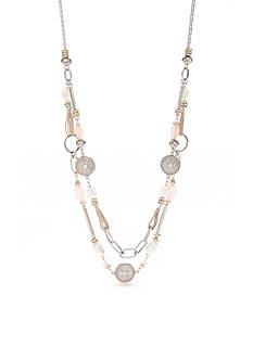 Ruby Rd Silver-Tone Desert Rose Two Layer Necklace