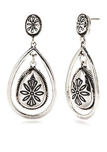 Silver-Tone Spring Metals Orbital Teardrop Earrings
