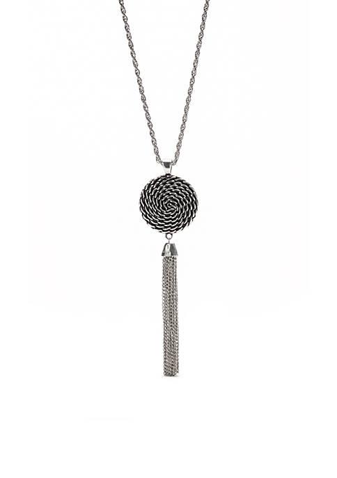 Silver Tone Long Wheel Pendant Necklace