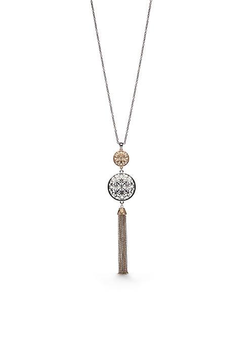 Two-Tone Filigree Tassel Pendant Necklace