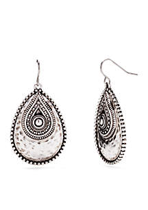 Silver-Tone Overlay Teardrop Earrings