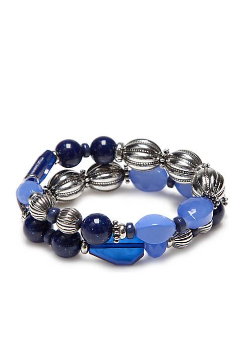 Silver-Tone Two Row Beaded Stretch Bracelets