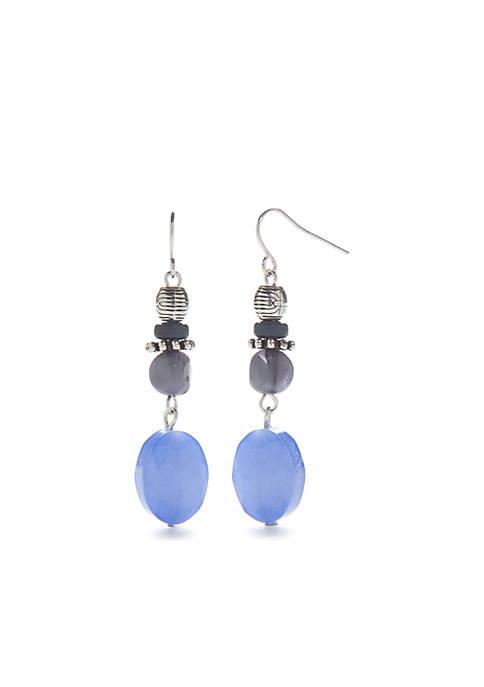 Ruby Rd Silver-Tone Beaded Teardrop Earrings