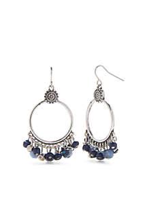 Silver-Tone Hoop with Fringe Earrings