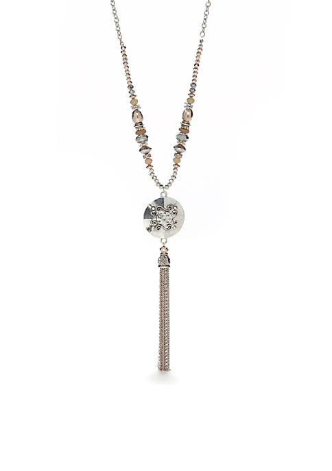 Ruby Rd Silver-Tone Large Tassel Pendant Necklace