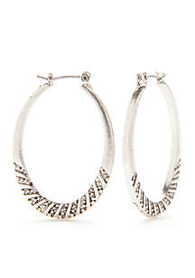 Silver-Tone Etched Oval Hoop Earrings