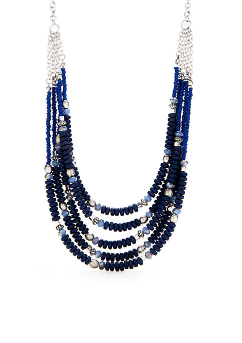 Ruby Rd Color Splash Blue 5-Strand Drape Necklace
