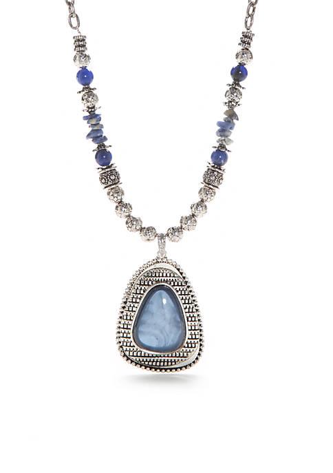 Silver-Tone Teardrop Pendant Necklace