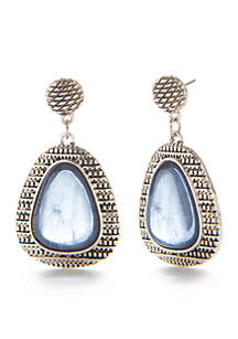 Silver-Tone Post Top Teardrop Earrings