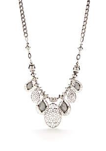 Silver-Tone Frontal Drop Necklace