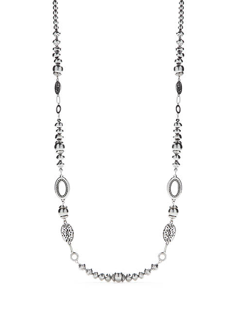 Ruby Rd Long Silver-Tone Beaded Chain Link Necklace