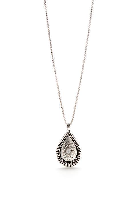 Ruby Rd Long Silver-Tone Teardrop Pendant Necklace