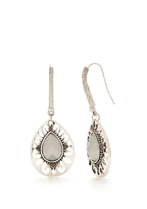 Silver-Tone Teardrop Stone Center Earrings