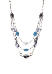 Blue Three Row Silver Illusion Chain Necklace