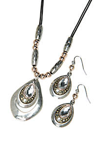 Tri-Tone 3-Piece Necklace and Earring Set