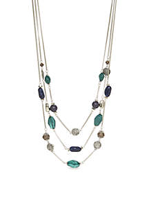 Silver-Tone Three-Row Illusion Necklace