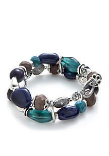 Silver-Tone Two Row Beaded Stretch Bracelet