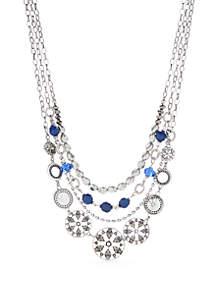 Silver-Tone Multi Stand Chain Necklace