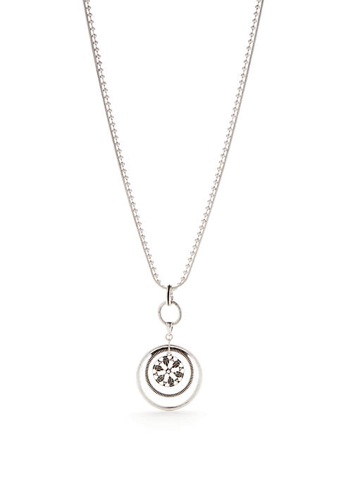 Ruby Rd Silver-Tone Long Orbital Pendant Necklace