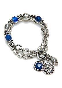 Silver-Tone Multi Stand Stretch Bracelet