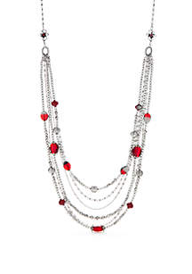 Silver-Tone Multi-Stand Long Necklace