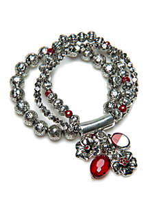 Silver-Tone 3 Row Stretch Beaded Bracelet