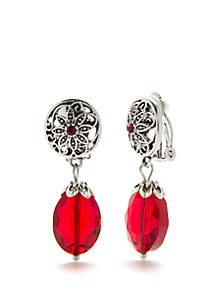 Silver-Tone Flower Drop Clip Earrings