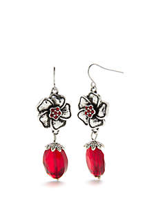 Silver-Tone Flower and Bead Drop Earrings