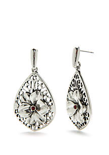 Silver-Tone Flower Teardrop Earrings