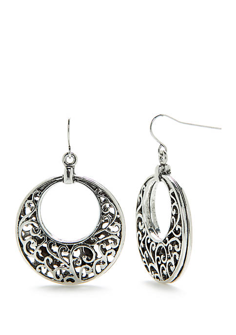 Ruby Rd Silver-Tone Antique Finish Hoop Earrings