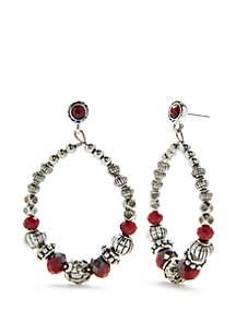 Silver-Tone Beaded Post Hoop Earrings