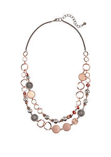 2-Row Chain Disc Link Necklace