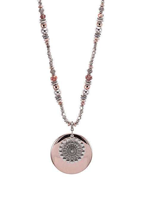 Ruby Rd 2-Tone Large Layered Pendant Necklace